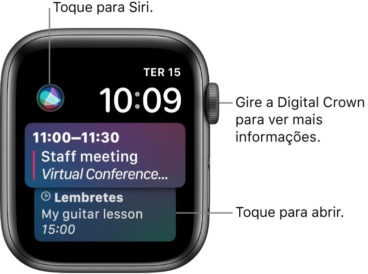 Mostrador Siri exibindo um lembrete e um evento de calendário. O botão Siri encontra-se na parte superior esquerda da tela. A data e a hora estão na parte superior direita.