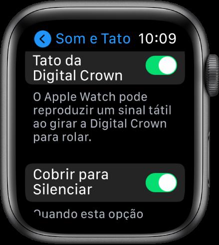 A tela Tato mostrando o botão Crown Haptics ativado. O botão Cobrir para Silenciar está abaixo.