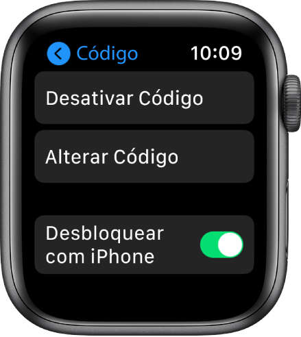 Ajustes de código no AppleWatch, com o botão Desativar Código na parte superior, botão Alterar o Código abaixo e o controle Desbloquear com iPhone na parte inferior.