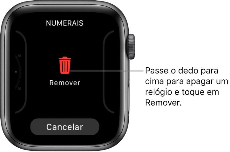 Tela do AppleWatch mostrando os botões Remover e Cancelar, que aparecem depois que você passa o dedo até um mostrador e passa o dedo para cima para apagá-lo.