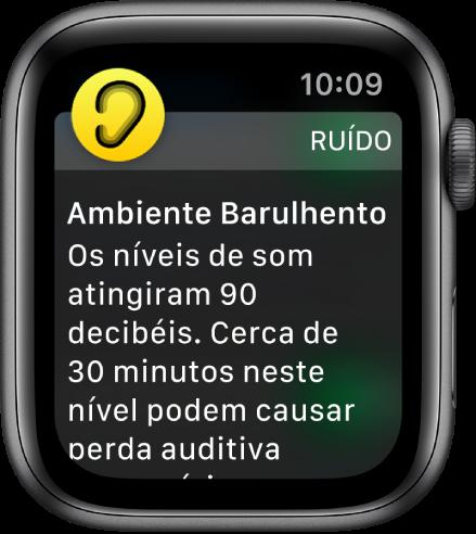 AppleWatch mostrando uma notificação do app Ruído. O ícone do app associado à notificação aparece na parte superior esquerda. Você pode tocar nele para abrir o app.