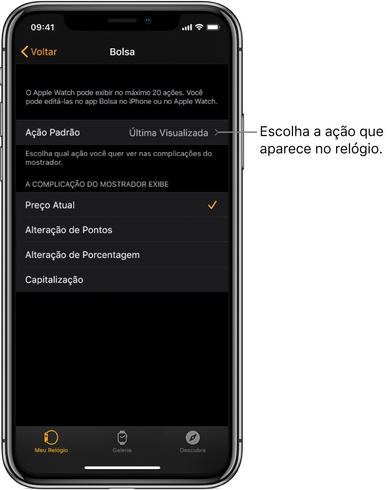 Tela dos ajustes do app Bolsa no app Apple Watch no iPhone mostrando opções para escolher uma Ação Padrão, definida como Última Visualizada.