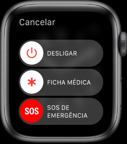 Tela do AppleWatch mostrando três controles: Desligar, Ficha Médica e SOS de Emergência. Arraste o controle deslizante Desligar para desligar o AppleWatch.