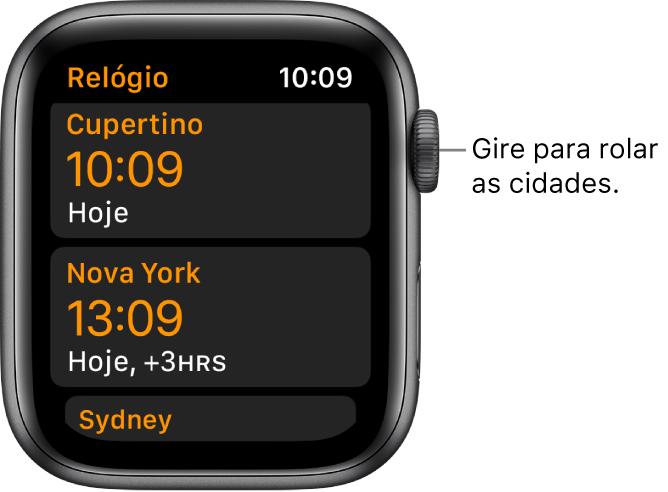 App Relógio com lista de cidades e barra de rolagem.