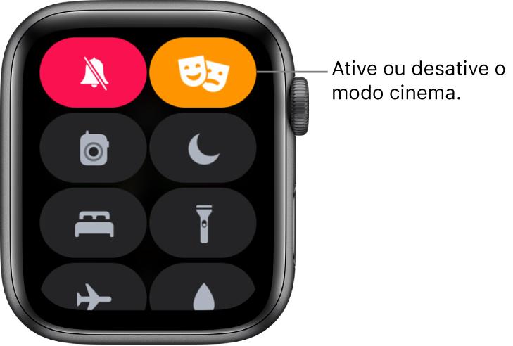 Central de Controle com os botões modo cinema e modo silencioso destacados para indicar que o modo cinema está ativado.