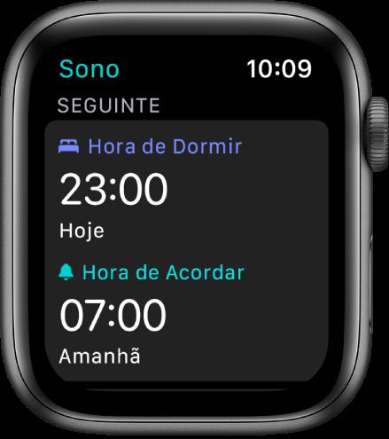 Tela do Sono mostrando os horários de sono da noite. Hora de Dormir, perto da parte superior, está definida como 23 horas. Abaixo, está o horário de acordar às 7 horas.