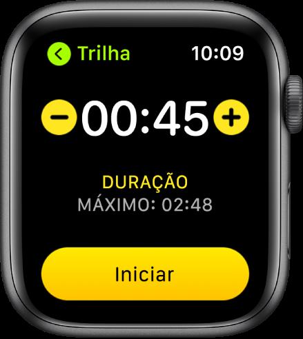 Tela de meta mostrando a hora perto da parte superior, com botões – e + nas laterais e o botão Iniciar na parte inferior.