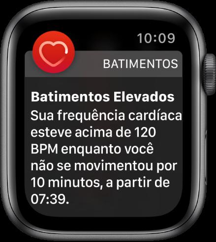 Um alerta de Batimentos, indicando uma frequência cardíaca elevada.