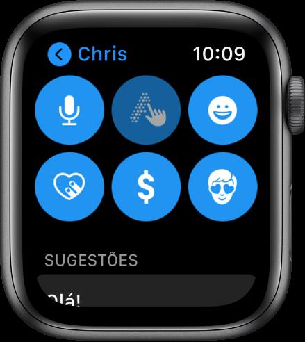 Tela do app Mensagens mostrando o botão Apple Pay, além dos botões Ditado, Escrever à Mão, Emoji, Digital Touch e Memoji.
