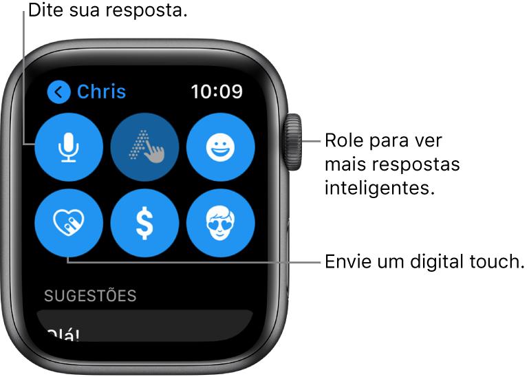 Tela de resposta mostrando os botões Ditado, Escrever à Mão, Emoji, Digital Touch, Apple Pay e Memoji. Abaixo, encontram-se as respostas inteligentes. Gire a DigitalCrown para ver mais respostas inteligentes.