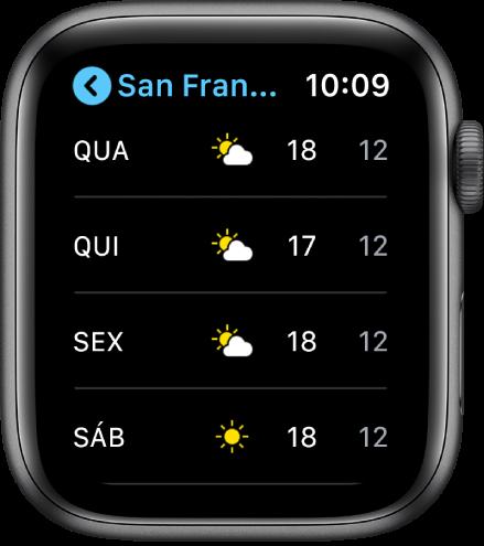App Tempo mostrando a previsão do tempo para a semana.