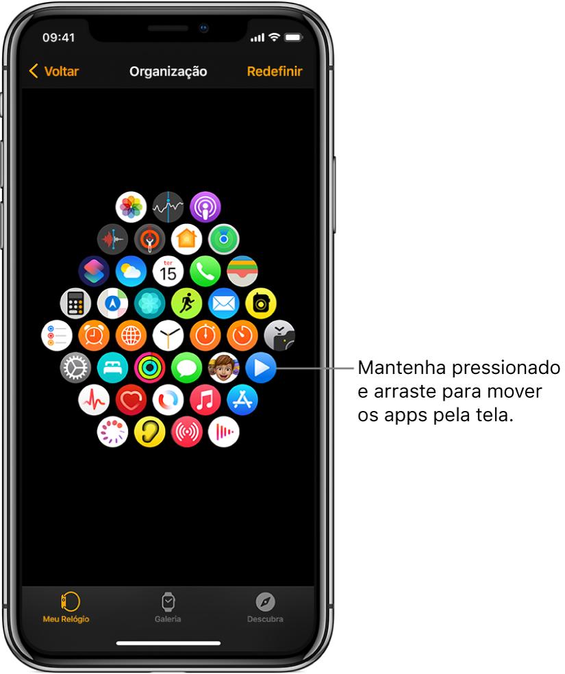 A tela Organização no app Apple Watch mostrando uma grade de ícones.