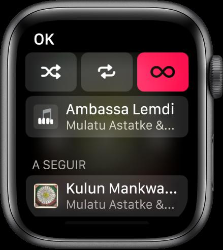 A janela com a lista de faixas mostrando os botões Aleatório, Repetir e Reprodução Automática na parte superior e uma faixa diretamente abaixo. Próximo à parte inferior, outra faixa aparece abaixo de A Seguir.