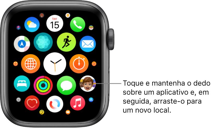 Tela de Início do Apple Watch na visualização em grade.