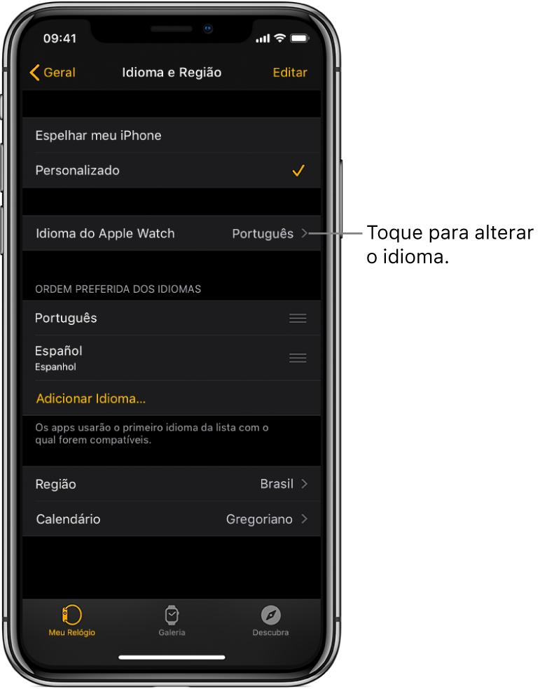 Tela de Idioma e Região no app Apple Watch, com os ajustes de Idioma do AppleWatch próximos à parte superior.