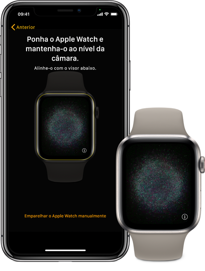 Um iPhone e um AppleWatch, com os respetivos ecrãs de emparelhamento.