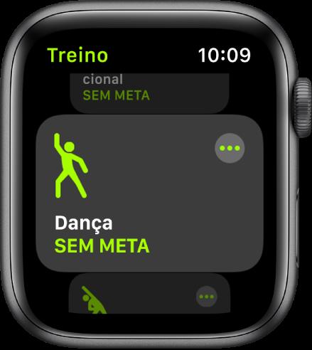 O ecrã Treino com o treino Dança destacado.