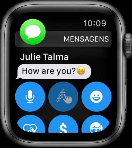 Uma notificação de mensagem, com o ícone das Mensagens na parte superior esquerda e a mensagem por baixo.