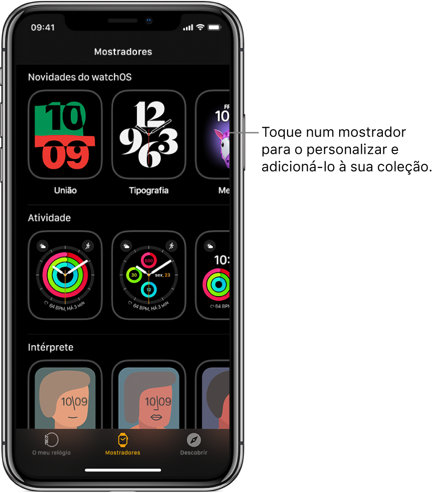 A aplicação AppleWatch aberta na galeria de mostradores. A linha superior mostra os mostradores novos e as linhas seguintes apresentam os mostradores agrupados por tipo, como, por exemplo, Atividade ou Artista. Pode percorrer as listas para ver mais mostradores agrupados por tipo.
