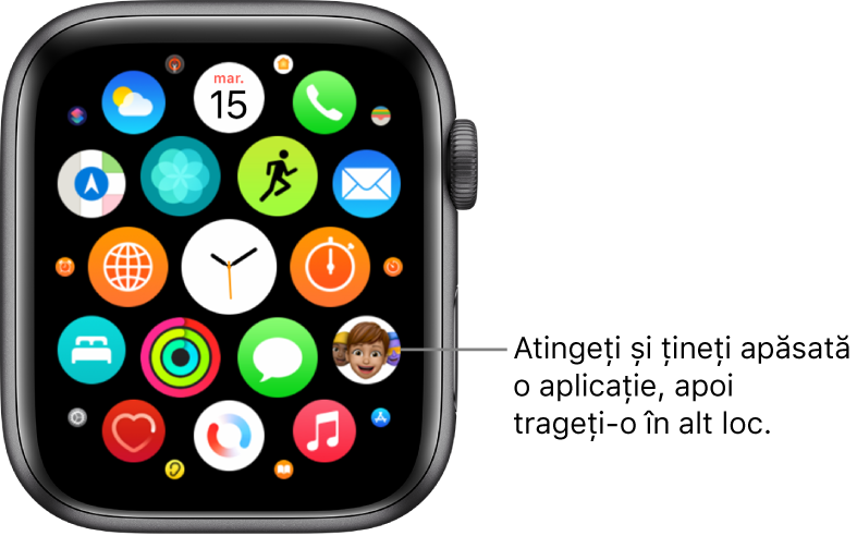 Ecranul principal Apple Watch în vizualizarea grilă.