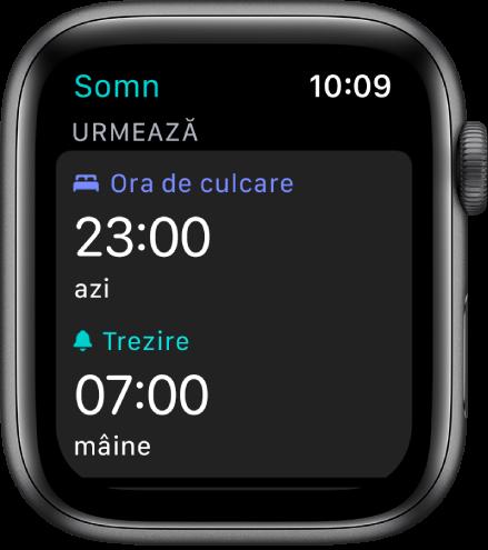 Ecranul Somn prezentând programul de somn al serii. În apropierea părții de sus, ora de culcare este configurată la 23:00. Dedesubt este ora de trezire 7:00.