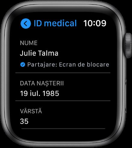 Ecranul ID medical prezentând numele și vârsta utilizatorului.