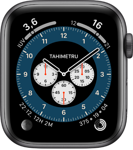 Cadranul de ceas Cronograf Pro prezentând variația Tahimetru.