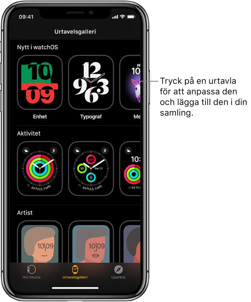 AppleWatch-appen öppnas och urtavelsgalleriet visas. Den översta raden visar nya urtavlor och nästa rad visar urtavlor grupperade efter typ, exempelvis Aktivitet och Artist. Om du rullar visas fler urtavlor grupperade efter typ.