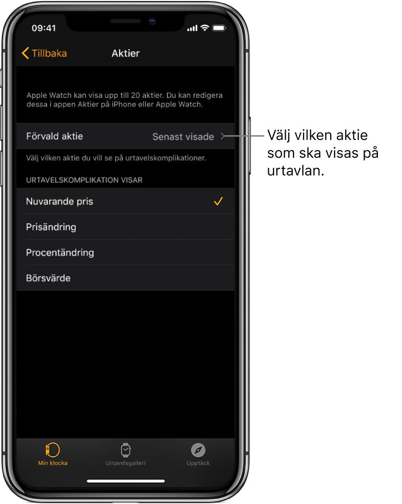 Inställningsskärmen för Aktier i Apple Watch-appen på iPhone, med alternativ för att välja förvald aktie, som är inställd på Senast visade.
