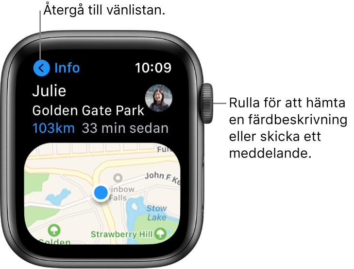 En skärm med information om en väns plats, bland annat hur långt bort personen är och var personen befinner sig på kartan. En linje pekar på DigitalCrown och det står Rulla för att få färdbeskrivningar eller skicka ett meddelande.
