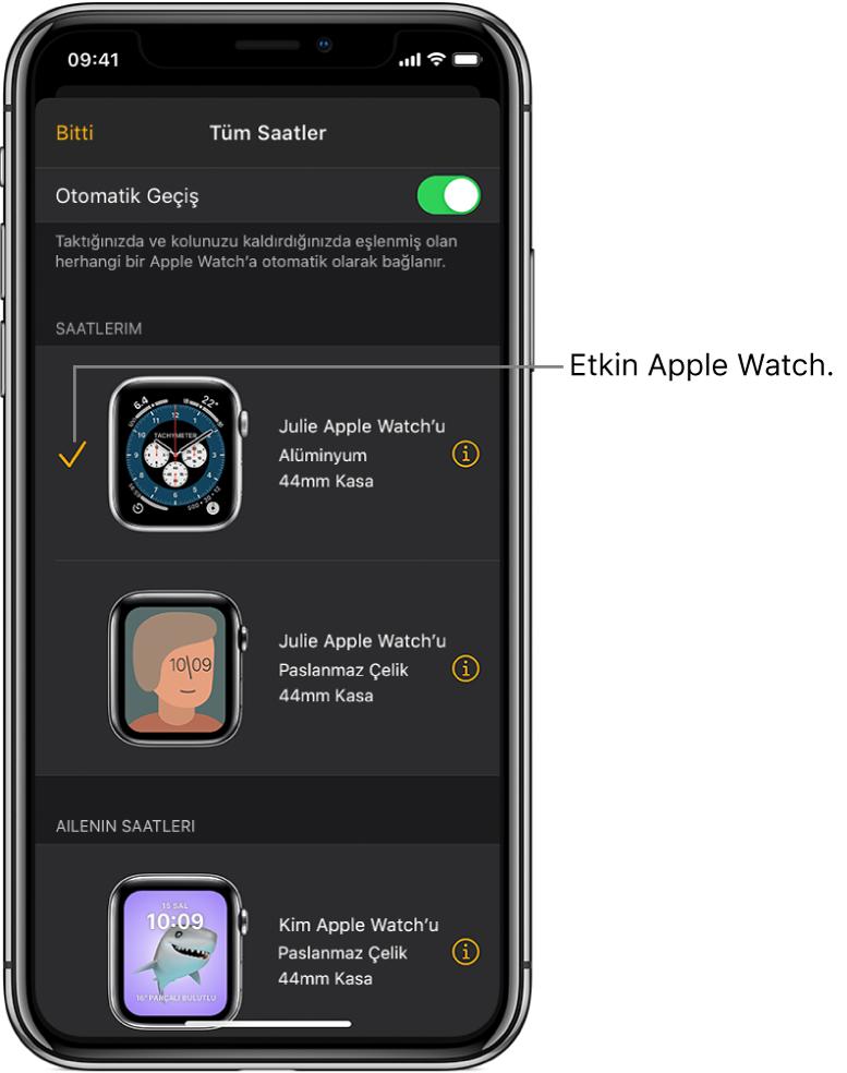 Apple Watch uygulamasının Tüm Saatler ekranında, bir onay işareti etkin Apple Watch'u gösteriyor.