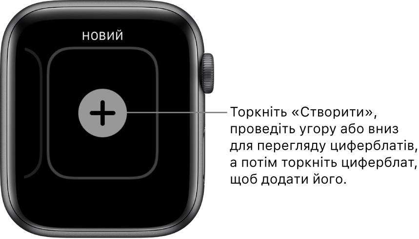 Екран створення циферблата з кнопкою «+» посередині. Торкніть, щоб додати новий циферблат.