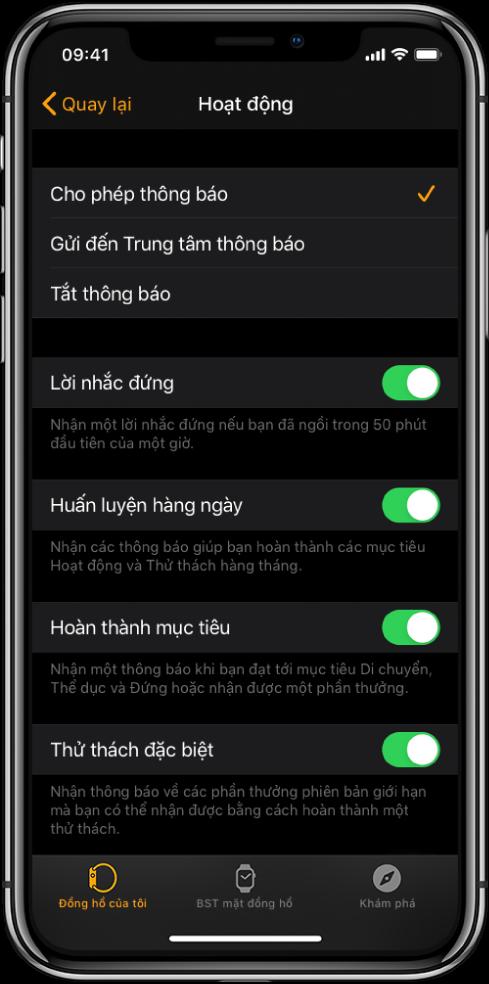 Màn hình Hoạt động trong ứng dụng Apple Watch, nơi bạn có thể tùy chỉnh các thông báo bạn muốn nhận.