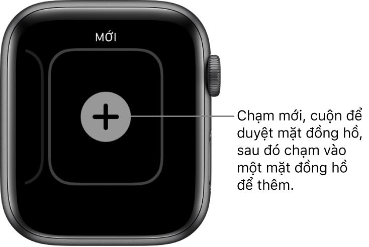 Màn hình mặt đồng hồ mới, với nút cộng ở giữa. Chạm để thêm mặt đồng hồ mới.