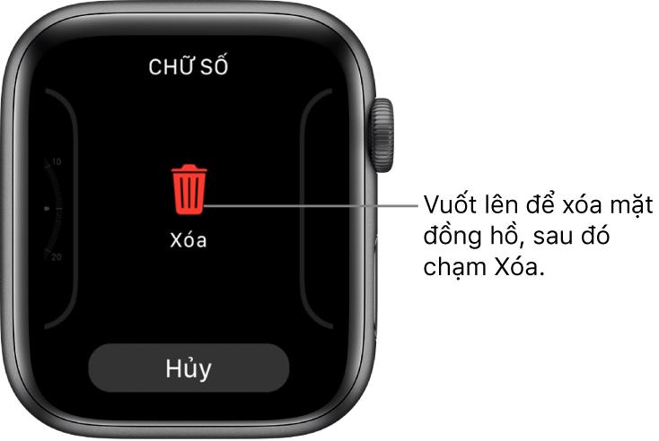 Màn hình Apple Watch đang hiển thị các nút Xóa và Hủy, xuất hiện sau khi bạn vuốt đến một mặt đồng hồ, sau đó vuốt mặt đồng hồ lên để xóa.