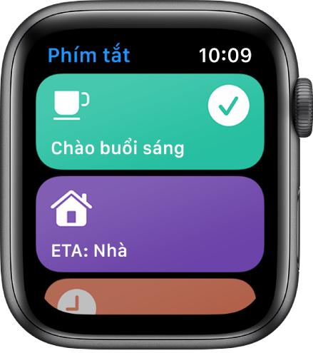 Màn hình Phím tắt đang hiển thị hai phím tắt – Chào buổi sáng và ETA về nhà.