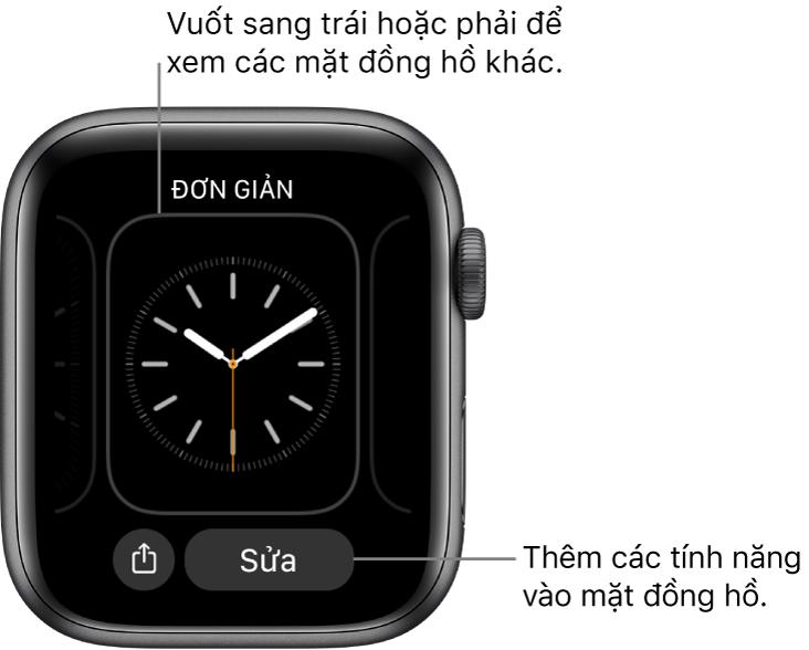 Khi bạn chạm và giữ mặt đồng hồ, bạn thấy mặt đồng hồ hiện tại với các nút Chia sẻ và Sửa ở dưới cùng. Vuốt sang trái hoặc phải để xem các tùy chọn mặt đồng hồ khác. Chạm vào một tổ hợp để thêm các tính năng bạn muốn.