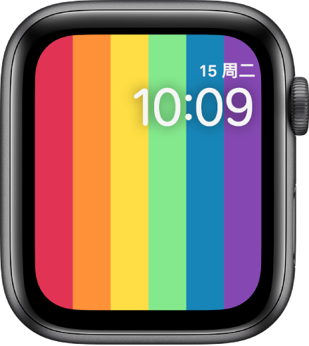 """""""彩虹数字""""表盘在右上方显示包含日期和时间的垂直彩虹条纹。"""