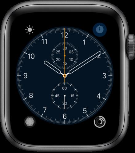 """""""计时码表""""表盘,您可以调整表盘颜色和刻度盘的细节。它显示四个复杂功能:天气(左上方)、秒表(右上方)、呼吸(左下方)和健身记录(右下方)。"""