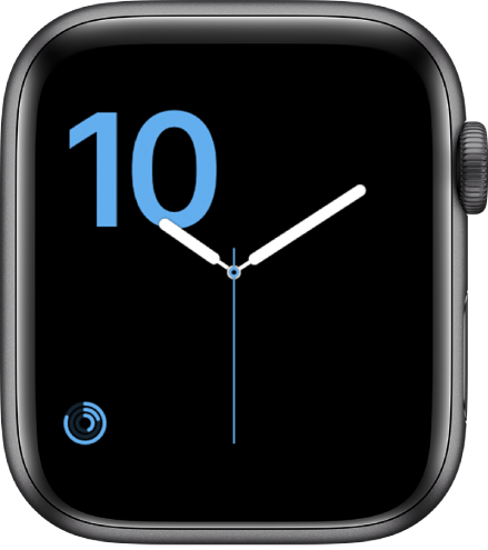 数字表盘在左下方显示蓝色的立体字样和健身记录复杂功能。