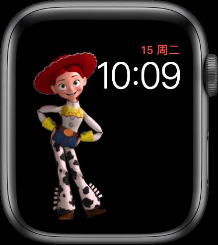 """""""玩具总动员""""表盘,右上方显示星期几、日期和时间,屏幕左侧显示动画翠丝。"""