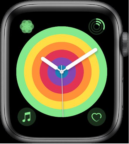 """使用圆环样式的""""彩虹指针""""表盘。此处显示四个复杂功能:""""呼吸""""位于左上方、""""健身记录""""位于右上方、""""音乐""""位于左下方和""""心率""""位于右下方。"""