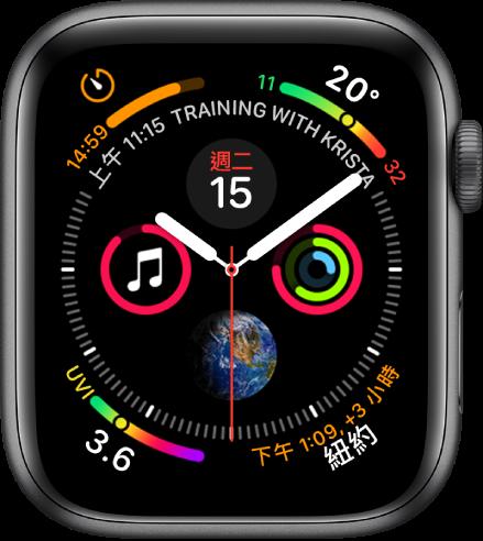 「資訊圖」錶面的每個角落複雜功能,中央是四個子錶盤。