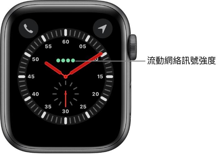 「探索者」錶面是指針時鐘。錶面上方中央即有四個綠點顯示流動網絡訊號強度。