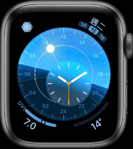「太陽錶盤」錶面配備圓形錶盤,會顯示太陽的位置。內錶盤顯示指針時間。共顯示四個複雜功能:「呼吸」位於左上方、「日期」位於右上方、「紫外線指數」位於左下方,以及「天氣溫度」位於右下方。