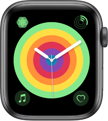 「Pride 指針」錶面使用圓形樣式。共顯示四個複雜功能:「呼吸」位於左上方、「健身記錄」位於右上方、「音樂」位於左下方,以及「心率」位於右下方。