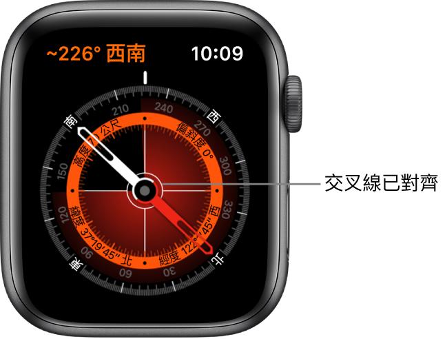 Apple Watch 錶面上的指南針。左上方是方位角。內側圓圈顯示高度、傾斜度、緯度和經度。白色十字準線會顯示北、南、東和西的指向。