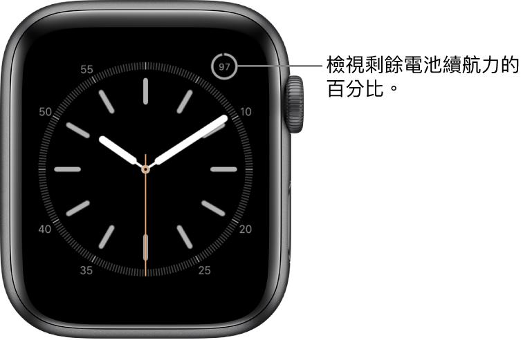 錶面右上角顯示電池百分比複雜功能。