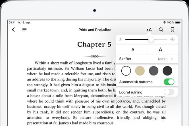 Menuen til udseende i en bog er valgt med betjeningsmuligheder, fra øverst til nederst: lysstyrke, skriftstørrelse, skriftformat, sidefarve, automatisk nattema og rulleoversigt.