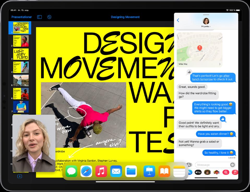 En præsentationsapp er åben i venstre side af skærmen, en samtale i Beskeder er åben til højre, og i nederste venstre hjørne vises et lille FaceTime-vindue.